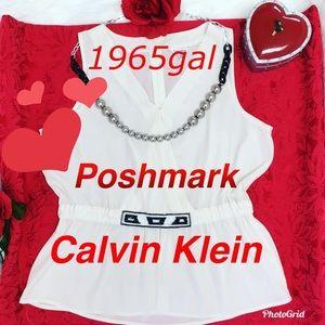Calvin Klein v-neckline beaded waist large blouse